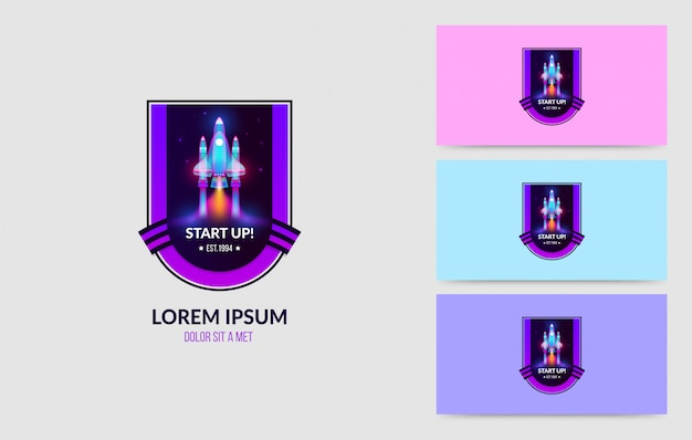 Lançamento de conjunto de distintivo de logotipo de foguete