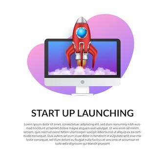 Lançamento de foguete 3d com conceito de ilustração de computador
