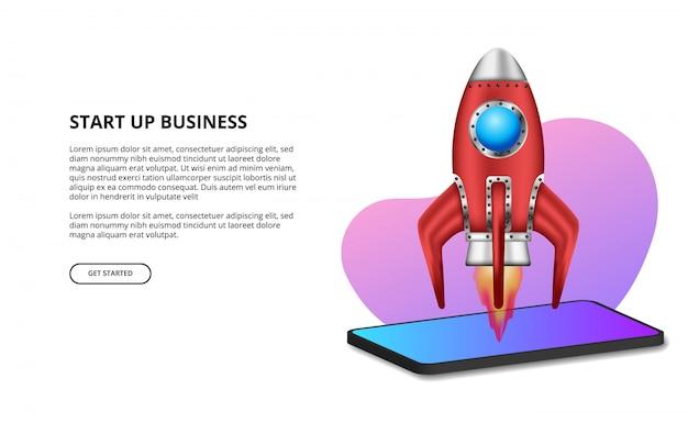 Lançamento de foguete 3d para iniciar produtos comerciais