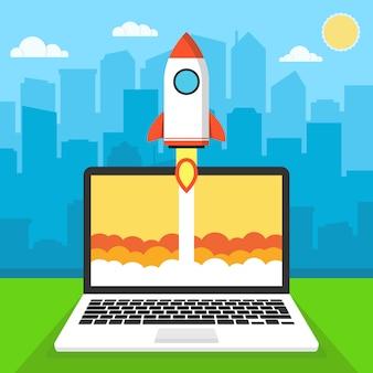 Lançamento de foguete a partir de um laptop. comece
