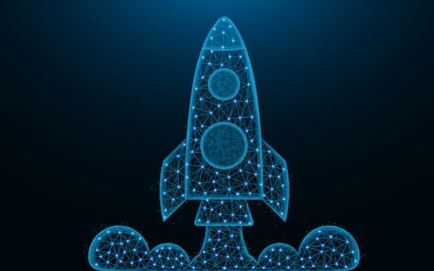 Lançamento de foguete baixo design de poli