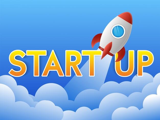 Lançamento de foguete com tipografia de texto start up