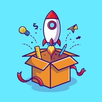 Lançamento de foguete da ilustração do ícone dos desenhos animados da caixa. conceito de ícone de tecnologia empresarial
