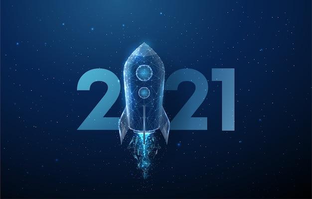 Lançamento de foguete de cartão abstrato feliz ano novo de 2021. design de estilo low poly. fundo geométrico abstrato. estrutura de luz em wireframe. conceito gráfico 3d moderno.