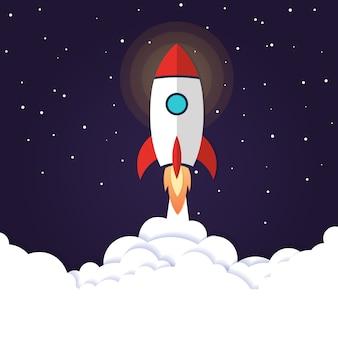 Lançamento de foguete de conceito de ilustração vetorial