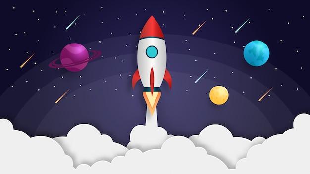 Lançamento de foguete de conceito de ilustração