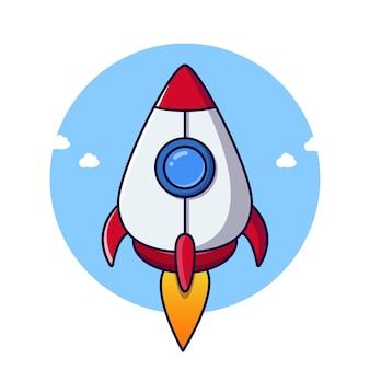 Lançamento de foguete de criatividade voando simbólico. ldesign criativo, ideia, inspiração, brainstorming, inicialização e ilustração vetorial de pensamento