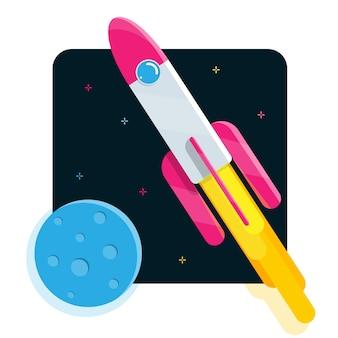 Lançamento de foguete de desenho animado