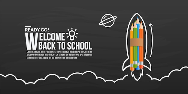 Lançamento de foguete de lápis de cor no quadro-negro, bem-vindo de volta à escola