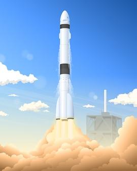 Lançamento de foguete de nave espacial para uma missão de exploração espacial