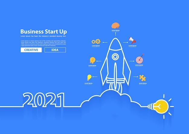 Lançamento de foguete de vetor 2021 com ideias criativas para lâmpadas