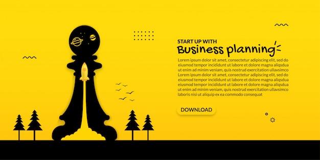 Lançamento de foguete dentro do xadrez em fundo amarelo, conceito de arranque de negócios