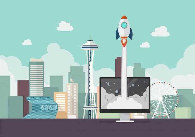 Lançamento de foguete do conceito de inicialização de negócios de monitor
