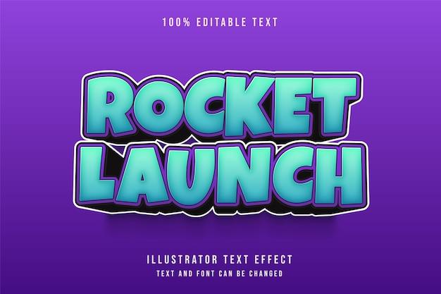 Lançamento de foguete, efeito de texto editável em 3d com gradação azul e roxo estilo de texto em quadrinhos