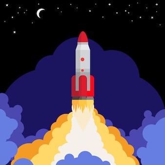 Lançamento de foguete espacial contra o fundo do céu da noite