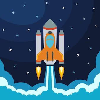 Lançamento de foguete espacial. ilustração vetorial com foguete voador. viagem ao espaço. desenvolvimento de projeto. ideia criativa.