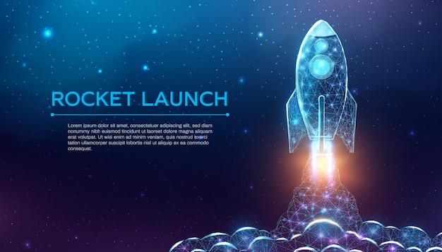 Lançamento de foguete, estilo poligonal de wireframe. rede de tecnologia de internet, conceito de inicialização de negócios com foguete de baixo poli brilhante. fundo abstrato moderno futurista. ilustração vetorial.
