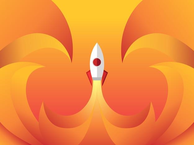 Lançamento de foguete isolado gradiente