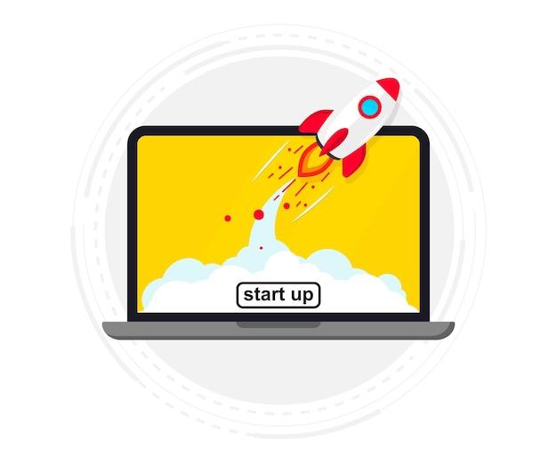 Lançamento de foguete na tela do laptop. foguete decolando. arranque de negócios, lançamento de novo produto ou serviço. um start-up de sucesso lança um novo projeto de negócios. ideia criativa ou inovadora. lançamento do foguete