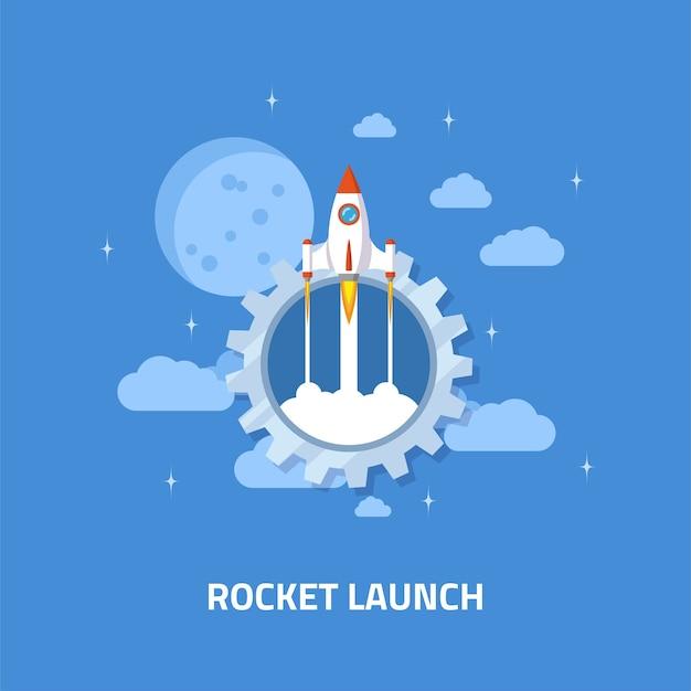 Lançamento de foguete, nave espacial. conceito de estilo simples de inicialização de negócios.