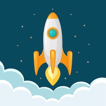 Lançamento de foguete, nave espacial. conceito de início de negócios
