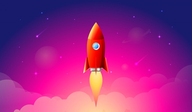 Lançamento de foguete, navio como produto de negócios em um mercado.