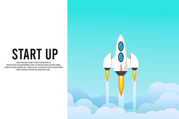 Lançamento de foguete no céu, nuvem, nuvens de fumaça, espaço. nave espacial. viagens interestelares. conceito de negócios. modelo de inicialização. fundo. design de desenho animado simples e moderno. ilustração em vetor plana.