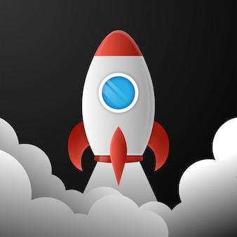 Lançamento de foguete novo conceito start up ilustração vetorial