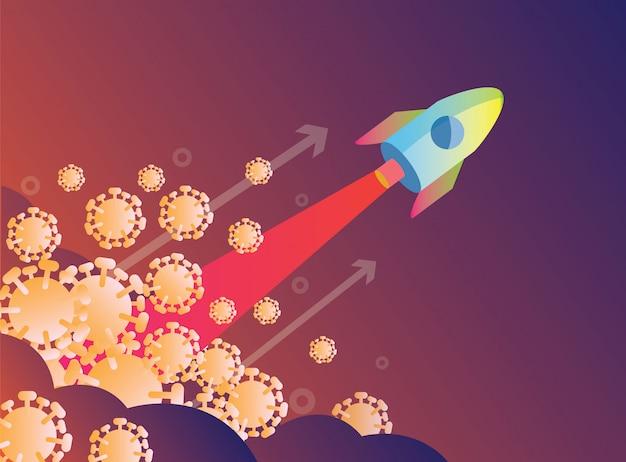 Lançamento de foguete sobre vírus. vitória sobre o conceito de vírus covid-19. ilustração design plano