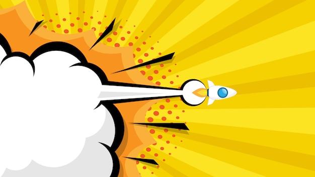 Lançamento de foguete start up pop art de quadrinhos