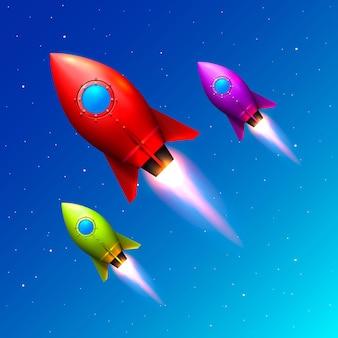 Lançamento de foguetes de cores espaciais, ideia criativa, fundo azul de foguete, ilustração vetorial