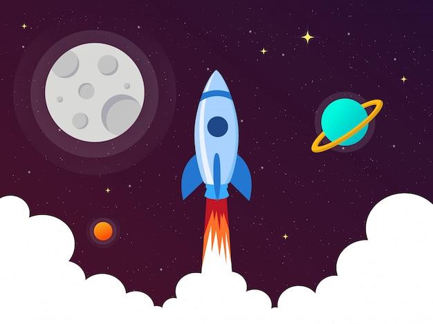 Lançamento de foguetes espaciais com satélites e planetas no galaxy. inicialização de negócios. estilo simples.