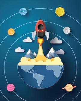 Lançamento de foguetes espaciais e galáxia.