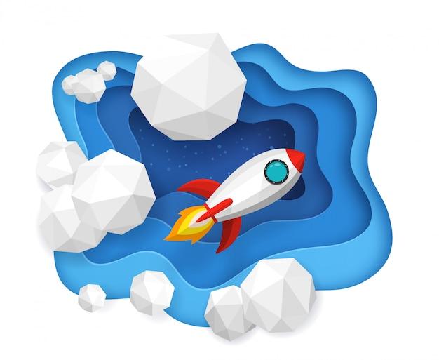 Lançamento de foguetes no céu azul e nuvens no fundo