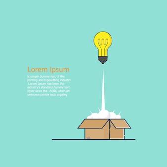 Lançamento de idéia de bulbo da caixa