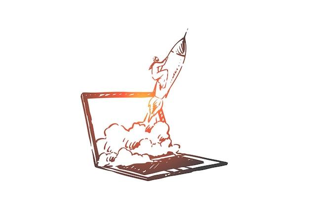 Lançamento de ilustração de conceito online de inicialização