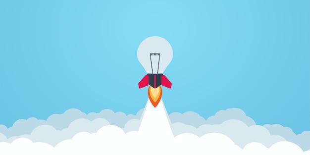 Lançamento de lâmpada de foguete no céu voando. conceito de negócios. desenho de desenho animado simples e moderno em estilo plano