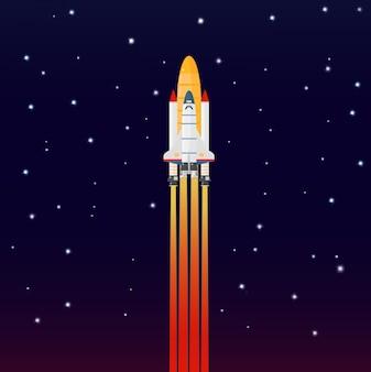 Lançamento de nave espacial foguete galáxia espacial. voar uma nave espacial no espaço sideral.