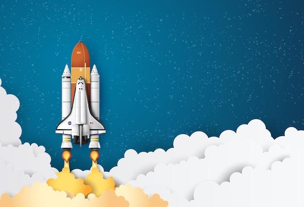 Lançamento de ônibus espacial de conceito de negócios para o céu