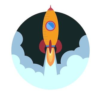 Lançamento de um foguete espacial. ilustração vetorial.