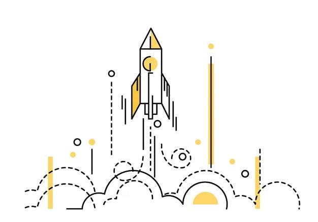 Lançamento do foguete. inicialização criativa. elementos de design de linha fina e plana. ilustração vetorial