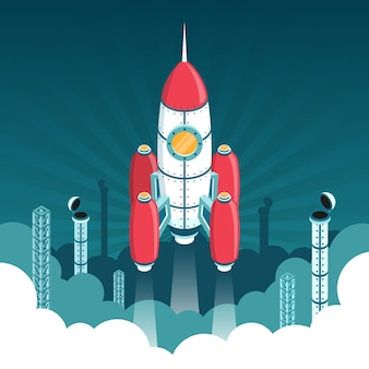 Lançamento do foguete isométrico 3d no espaço
