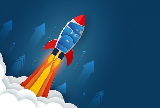 Lançamento do ônibus espacial para o céu. isolado do fundo azul. arranque o conceito de finanças de negócios