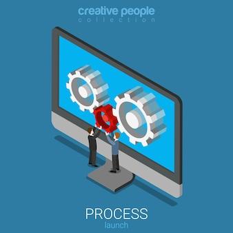 Lançamento do processo de software aplicativo de aplicativo isométrico plano