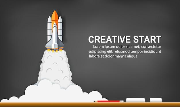 Lançamento do vaivém espacial ao céu no quadro-negro do fundo. arranque o conceito de negócio. ideia criativa. ilustração vetorial