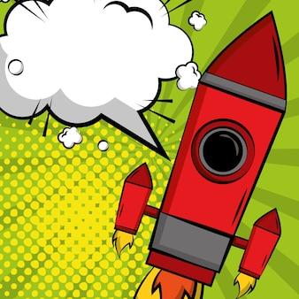 Lançamento foguete balão de fala comic pop art