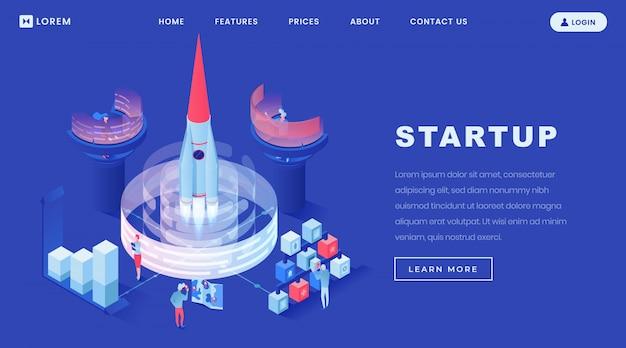 Lançando modelo de página de aterrissagem isométrica de startups