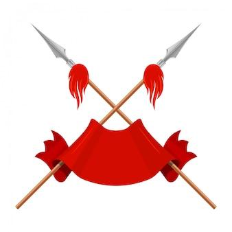 Lanças, uma bandeira e uma fita vermelha