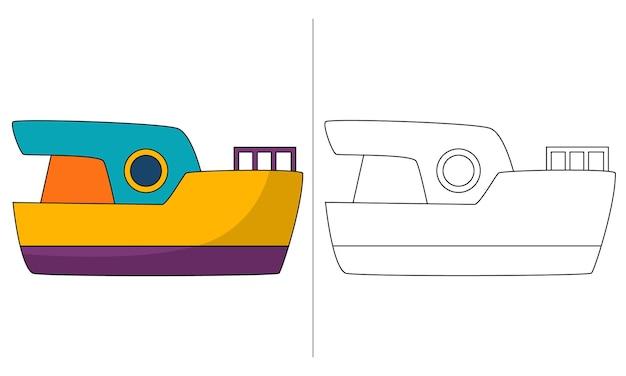 Lancha de ilustração de livro para colorir infantil
