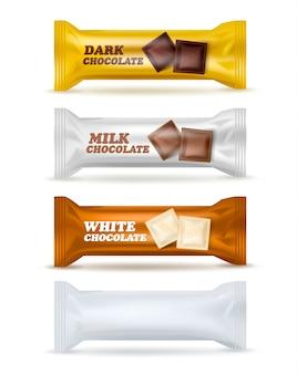 Lanche de chocolate isolado conjunto de embalagens